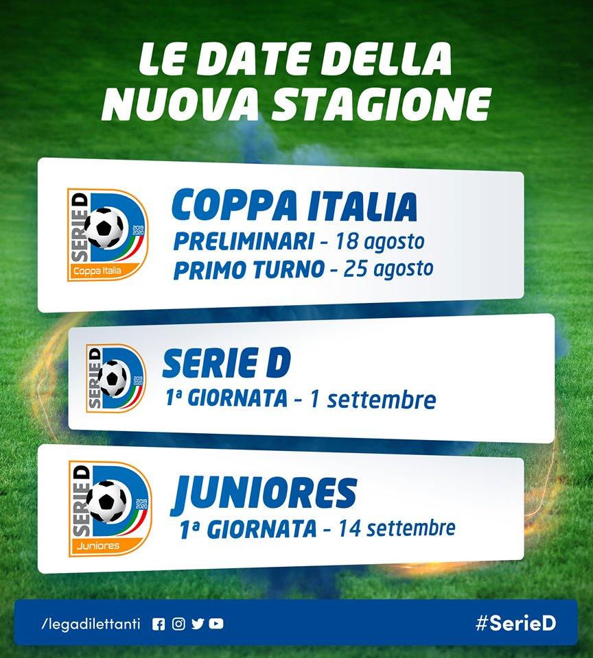Coppa Italia al via il 18 agosto con il turno preliminare. Esordio in Serie D domenica 1 settembre