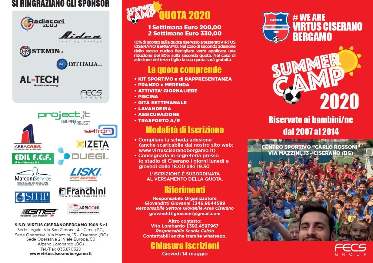 Summer Camp 2020: a Ciserano dieci giorni dedicati ai più piccoli. Scarica il programma ed il modulo di adesione