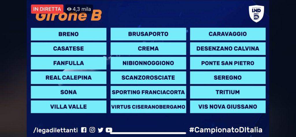 Il girone della Virtus Ciserano Bergamo nel prossimo campionato di Serie D al via il 27 settembre