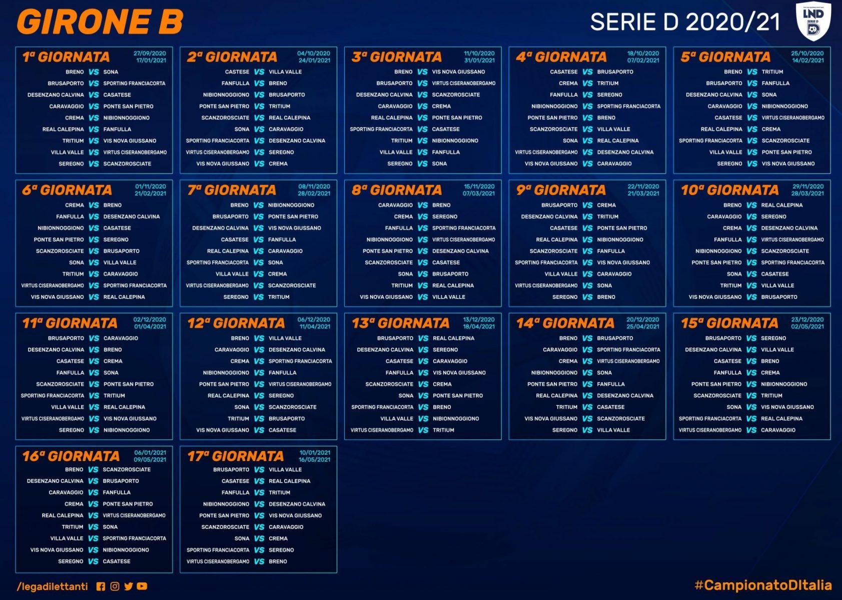 Il calendario del girone B Serie D 2020 2021: Villa d'Almè