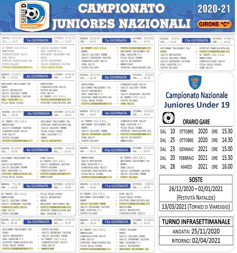 Calendario Juniores Nazionale 2020-2021: esordio casalingo il 10 ottobre con il Villa Valle