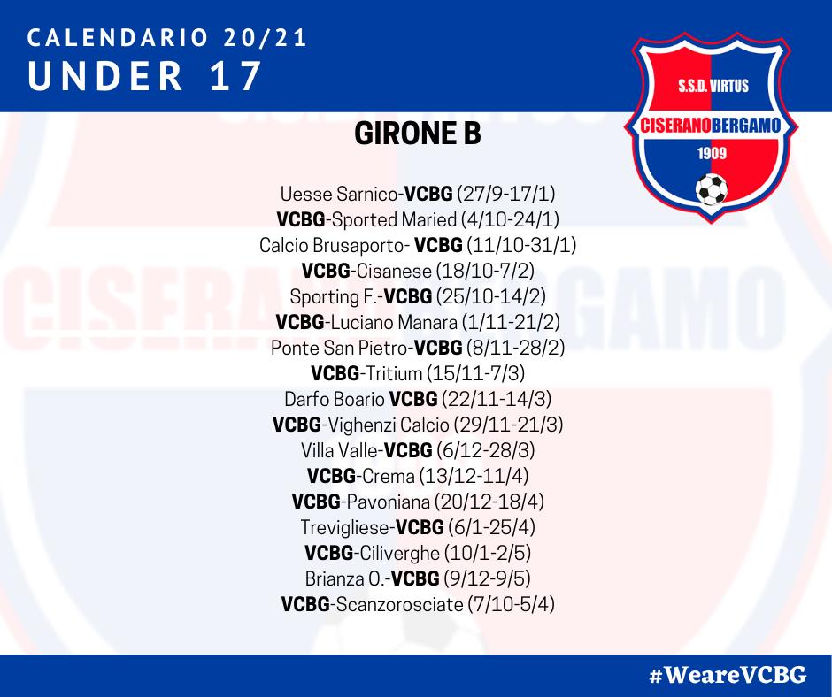 I calendari delle due formazioni Allievi regionali, Under 17 e Under 16