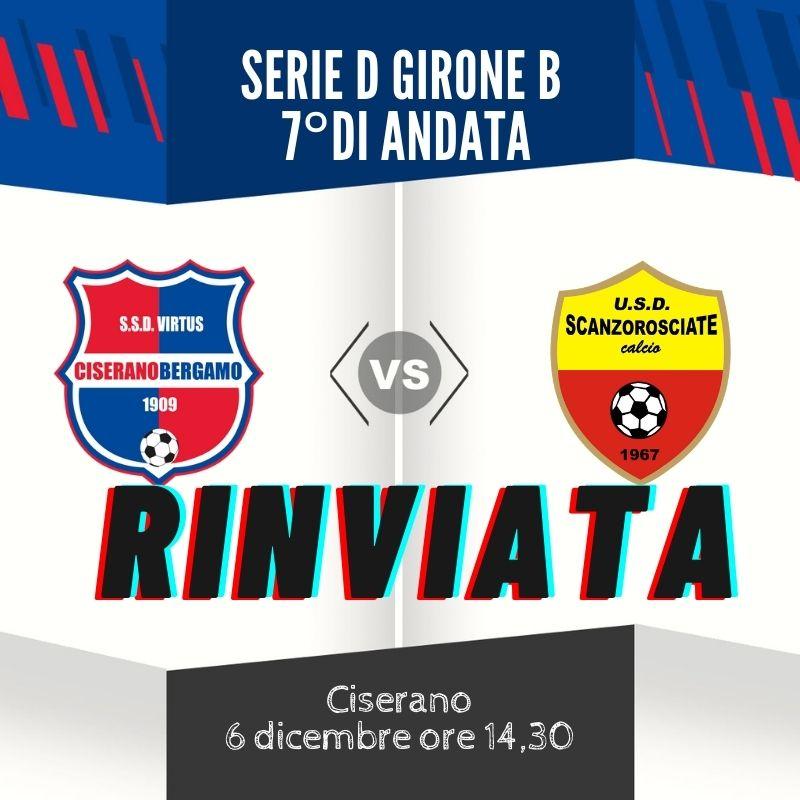 Posticipo della ripresa del campionato di Serie D: Virtus Ciserano Bergamo-Scanzorosciate rinviata al 13 dicembre