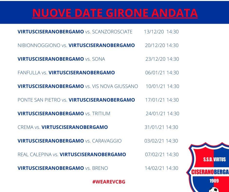 Serie D 2020-2021: il nuovo calendario del girone d'andata per la Virtus Ciserano Bergamo