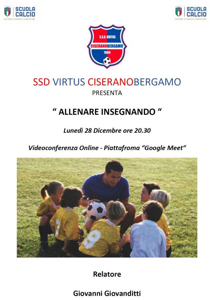"""""""Allenare insegnando"""", un incontro online targato Virtus Ciserano Bergamo"""