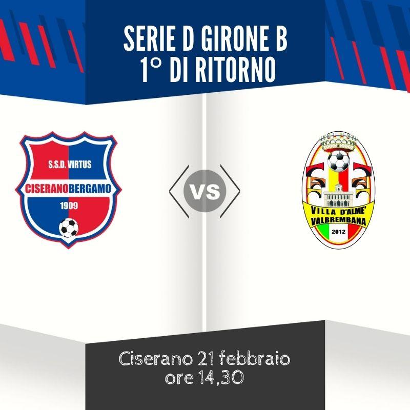 Virtus Ciserano Bergamo-Villa Valle in diretta su Youtube domenica 21 febbraio dalle 14.30