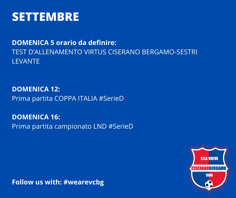 We Are Back! Il programma d'inizio stagione della Virtus Ciserano Bergamo: via agli allenamenti lunedì 2 agosto