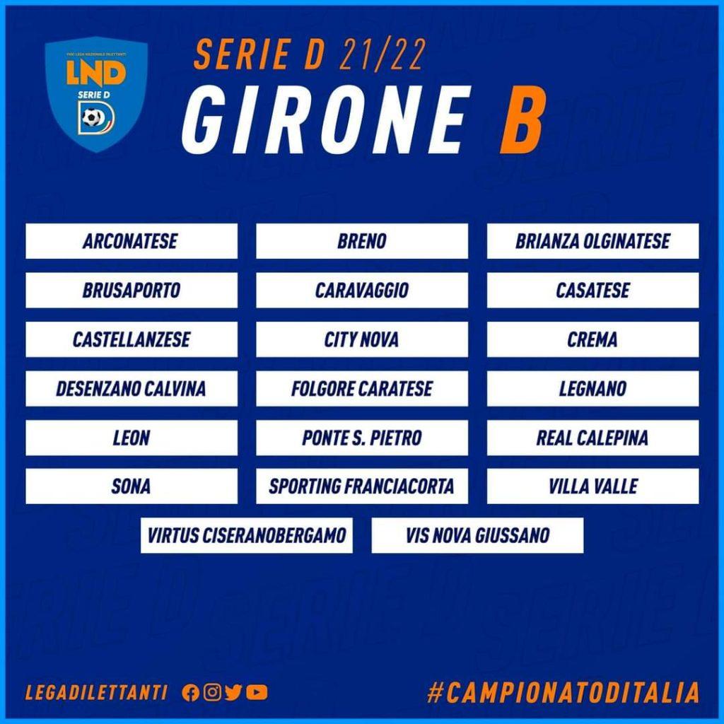 Virtus Ciserano Bergamo nel girone B di Serie D con lombarde e la veneta Sona